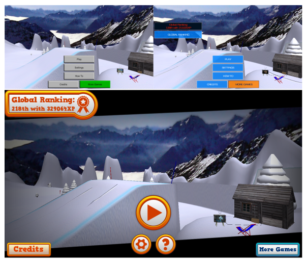 Mad Snowboarding UI iterations